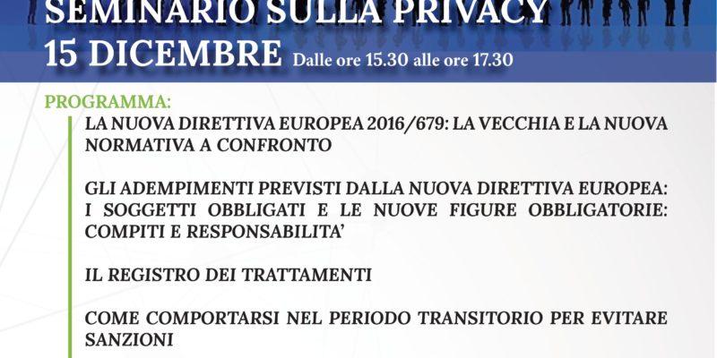 Seminario Privacy Nuovo Regolamento Protezione dei Dati Personali